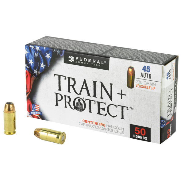 Federal Train & Protect 45 ACP 230GR Versatile Hollow Point Ammunition 50 Rounds