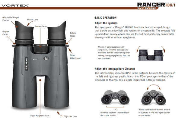 Vortex Ranger HD R/T 10x50  Tactical Ranging Reticle Binoculars