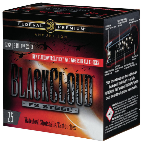"Federal Black Cloud FS Steel 12GA 3"" 1.25oz 3 Shot Ammunition 250 Rounds"