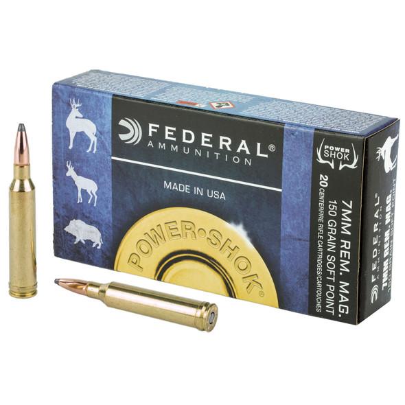 Federal Power-Shok 7mm Rem 150GR Soft Point Ammunition 20 Rounds