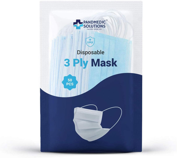 Pandmedic 3 Ply Face Mask 50/Pack MADE IN USA