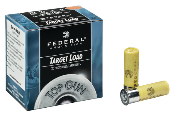 "Federal Top Gun 20GA 2.75"" Shotshell #8 Ammunition 25 Rounds"
