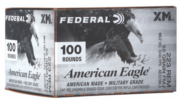 Federal .223 Remington 55gr FMJBT Ammunition 100 Rounds