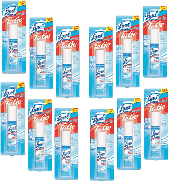 LYSOL Disinfectant Spray to Go, Crisp Linen Scent 1 oz (Pack of 12)