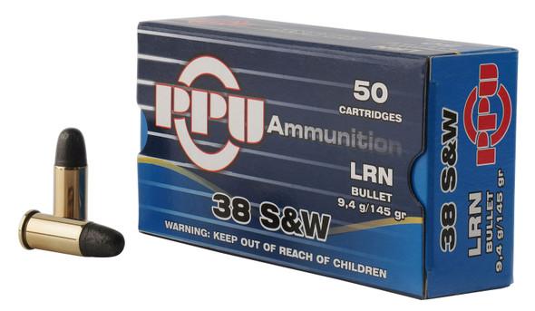 PPU 38 S&W 145GR LRN Ammunition 50 Rounds