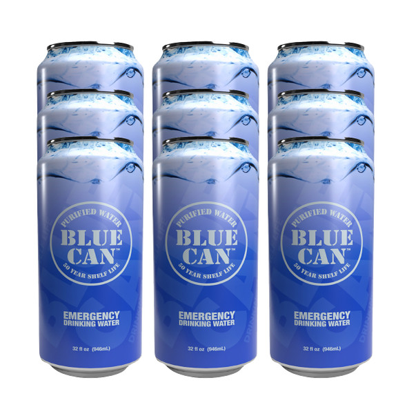 Blue Can Water Big Blue 32 oz Emergency Drinking Water 9/Pack