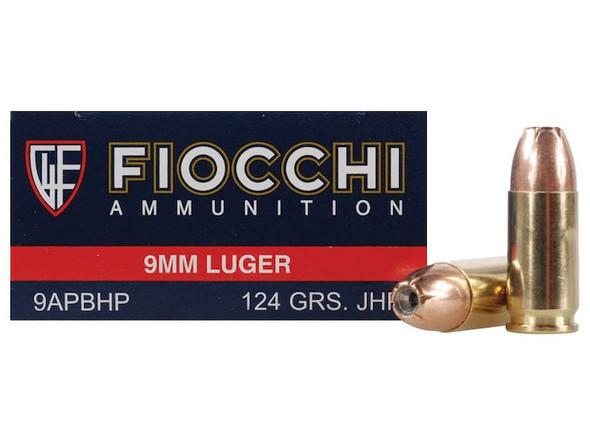 Fiocchi 9mm 124GR JHP Ammunition 50 Rounds