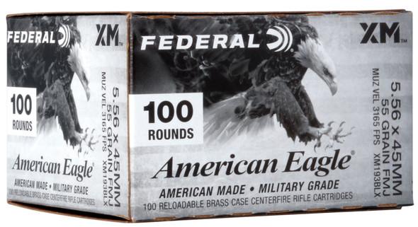 Federal American Eagle 5.56x45mm NATO 55GR FMJBT Ammunition 100 Rounds