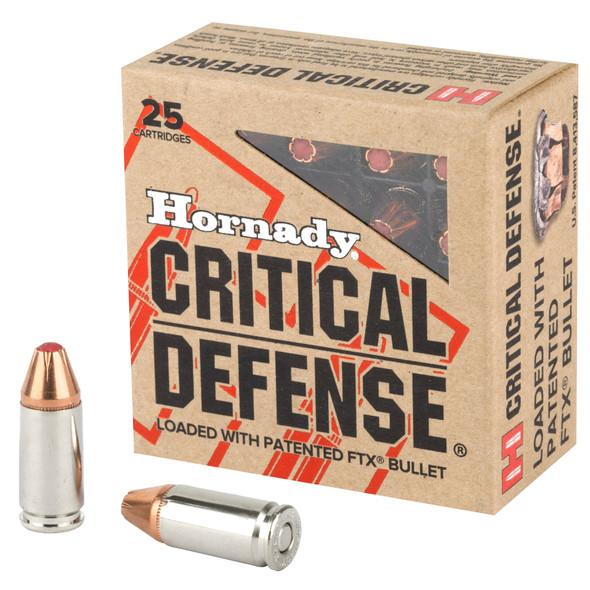 Hornady Critical Defense 9mm 115GR FTX Ammunition 25 Rounds