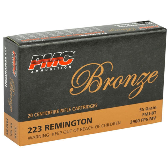 PMC 223A Bronze 223 Rem 55gr FMJBT Ammunition 20 Rounds
