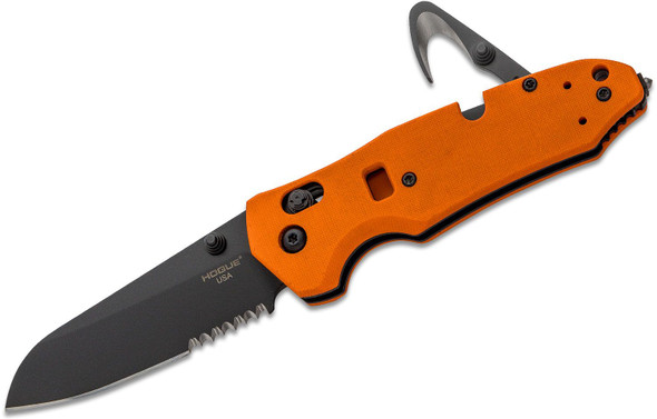 "Hogue Trauma First Response Tool 3.4"" Folding Knife Sheepsfoot Combo Blade Orange"