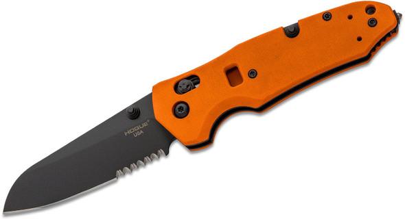 "Hogue Trauma First Response Tool Folding Knife Sheepsfoot Combo 3.4"" Blade Orange"