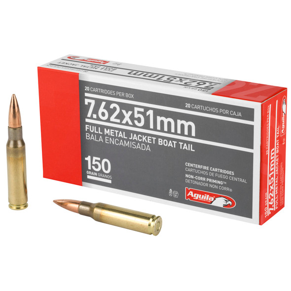 Aguila 7.62mm 150GR FMJBT Ammunition 20 Rounds
