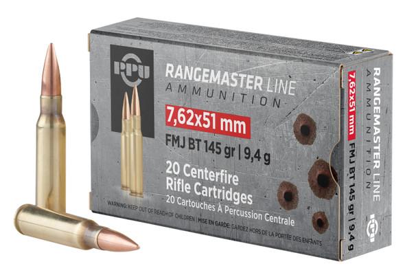 PPU Rangemaster 7.62mm 145gr FMJBT Ammunition 20rds