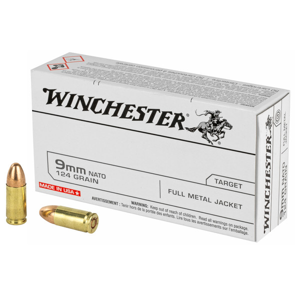 Winchester 9mm 124GR FMJ Ammunition 50 Rounds