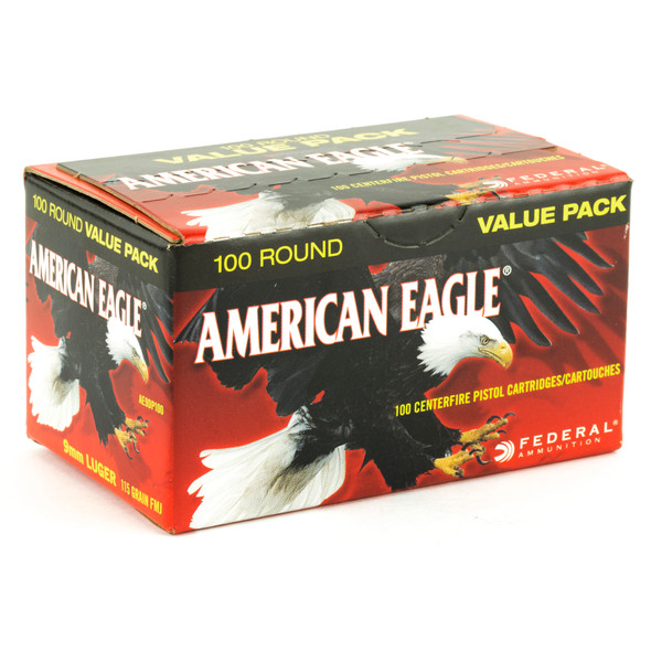 Federal American Eagle 9mm 115GR FMJ Ammunition 100 Rounds