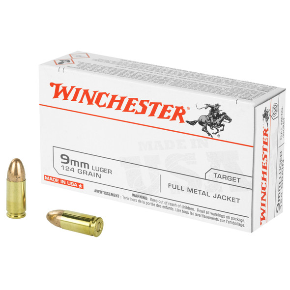 Winchester Target 9mm 124gr FMJ Ammunition 50rds