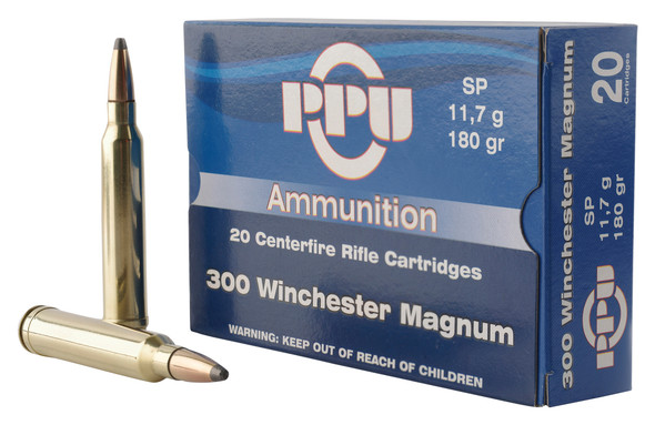 PPU 300 Win Mag 180GR Soft Point Ammunition 20 Rounds