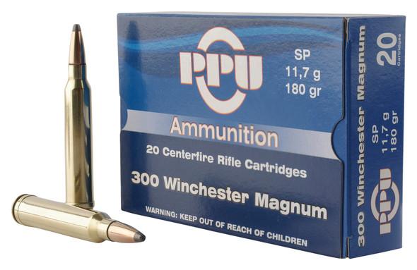 PPU .300 Winchester Magnum 180gr SP Ammunition 20rds