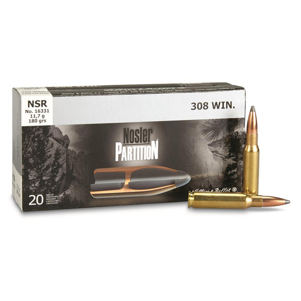 S&B 308 180gr Nosler Partition Ammunition 20 Rounds
