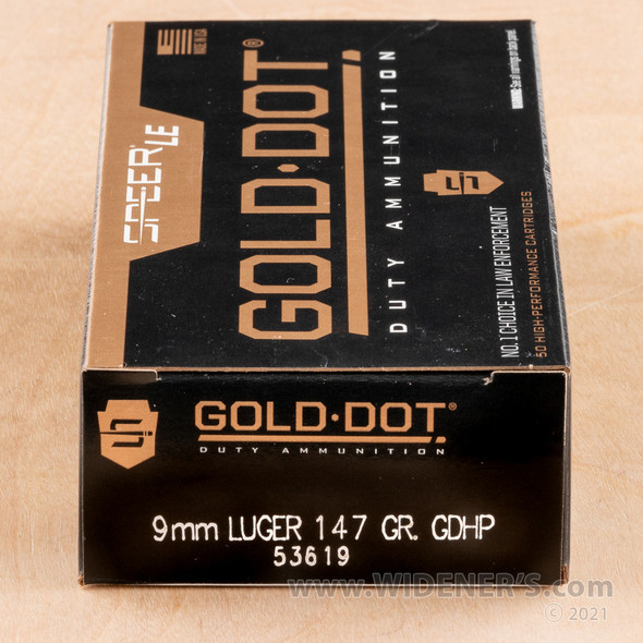 Speer 9mm 147GR Gold Dot HP Ammunition 50rds