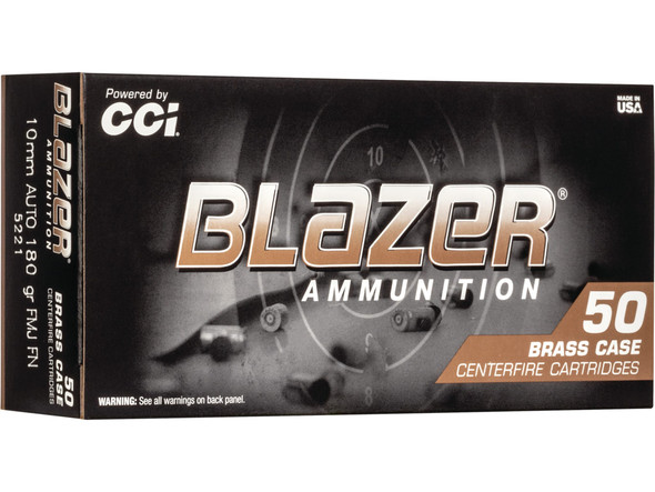 Blazer Brass 10mm 180 Grain FMJ Flat Nose Ammunition  50 Rounds