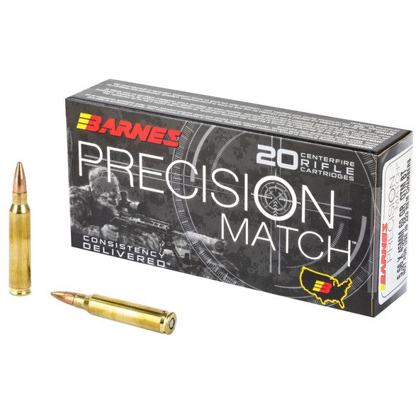 Barnes Precision Match 5.56mm 69GR OTMBT Ammunition 20 Rounds