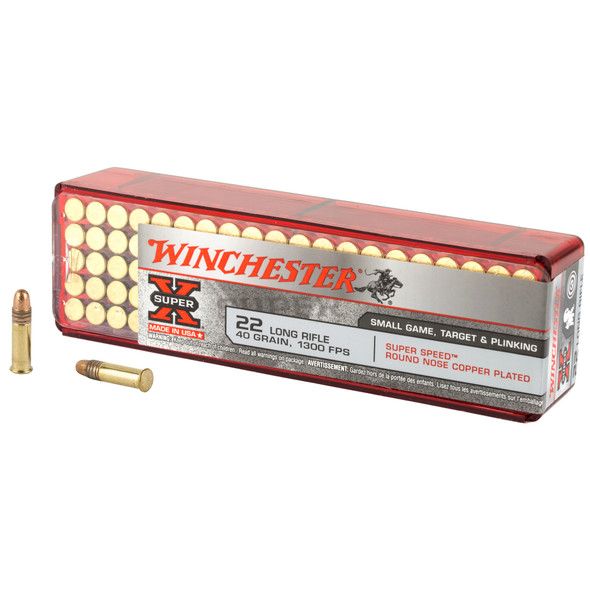 Winchester Super-X 22 LR 40GR Super Speed Round Nose Copper Plated Ammunition 100 Rounds