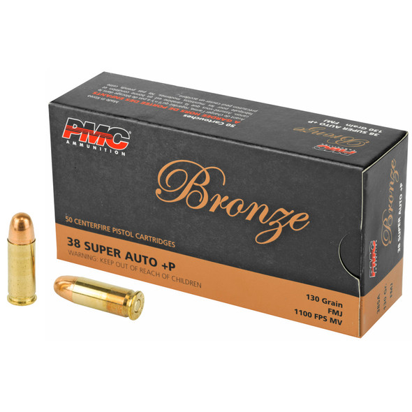 PMC Bronze 38 Super +P 130GR FMJ Ammunition 50 Rounds