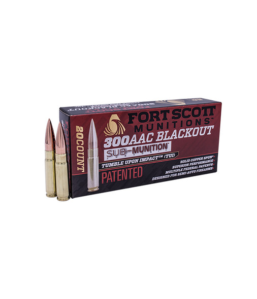 Fort Scott Munitions TUI 300 Blackout 190GR Solid Copper Spun Ammunition 20 Rounds