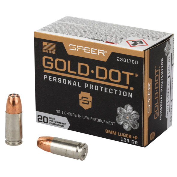 Speer Gold Dot Personal Protection 9mm 124GR HP Ammunition 20 Rounds