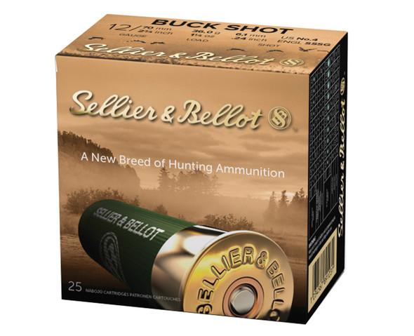 """SB 12GA 2.75"""" 27 Pellets 4 Buck Shot Ammunition 25 Rounds"""