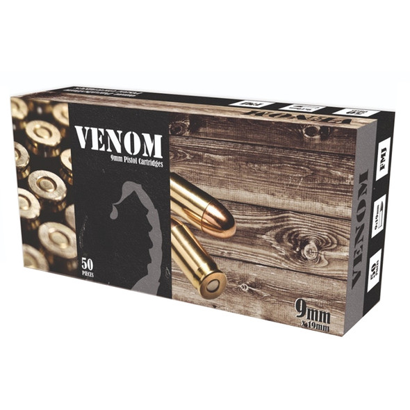 Venom 9mm 115GR FMJ Ammunition 50 Rounds