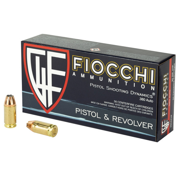 Fiocchi Pistol Shooting Dynamics 380 ACP 90GR JHP Ammunition 50 Rounds