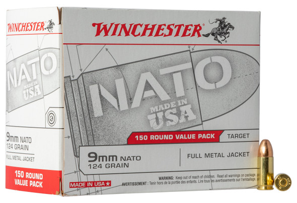 Winchester NATO 9mm 124GR FMJ Ammunition 150 Rounds