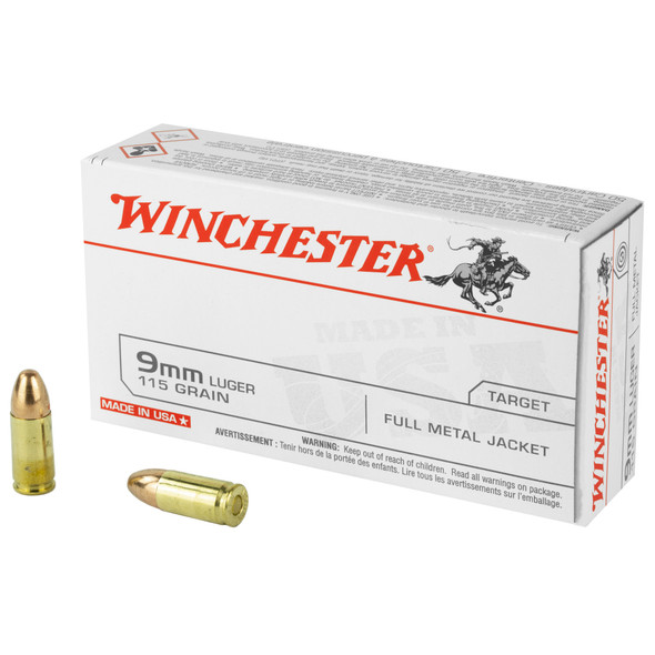 Winchester 9mm 115GR FMJ Ammunition 50 Rounds
