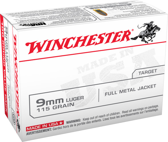 Winchester 9mm 115GR FMJ Ammunition 100 Rounds