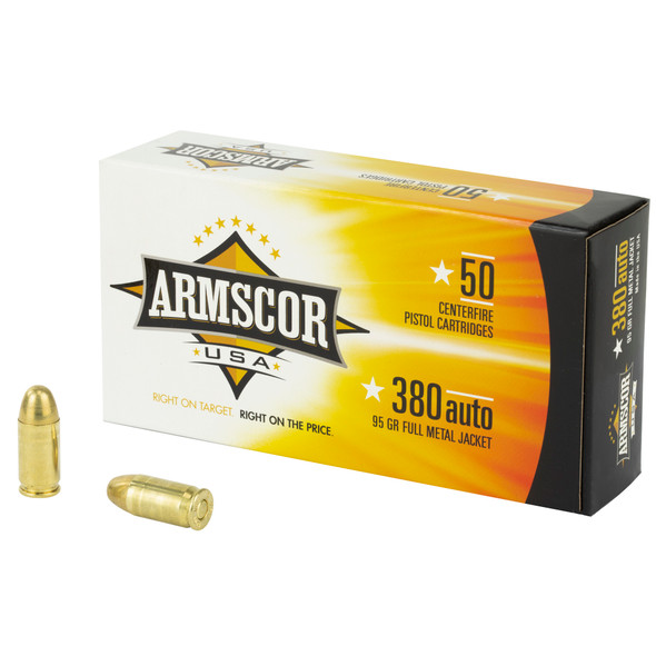 Armscor 380 ACP 95GR FMJ Ammunition 50 Rounds