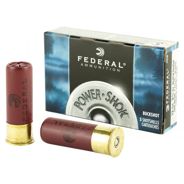 "Federal Power-Shok 12GA 2.75"" 9 Pellets 00 Buck Ammunition 5rds"