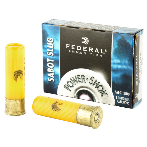 "Federal Power-Shok 20GA 2.75"" .875 oz Sabot Slug Ammunition 5 Rounds"