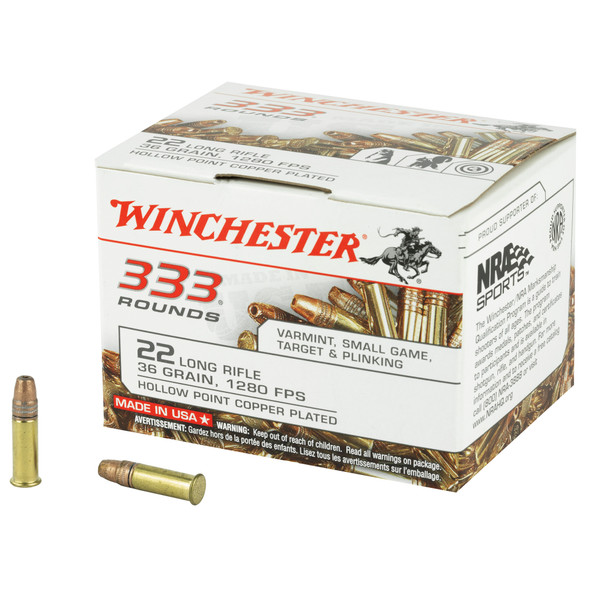 Winchester 22 LR 36GR Hollow Point Copper Plated Ammunition 333 Rounds