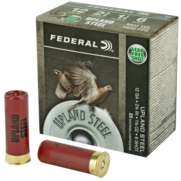 "Federal Upland Steel 12GA 2.75"" 1-1/8 oz 6 Shot Ammunition 25 Rounds"