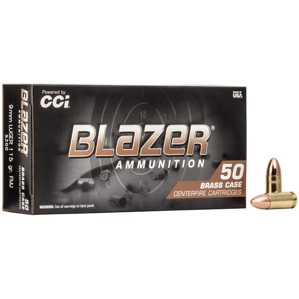 CCI Blazer Brass 9mm 115gr FMJ Ammunition 50rds