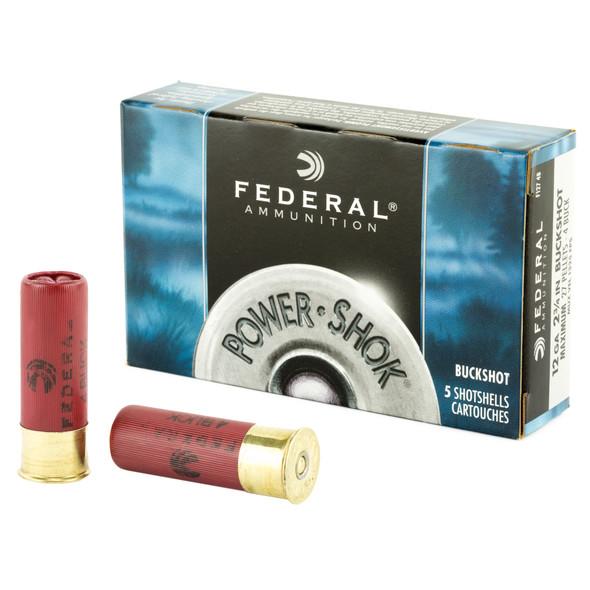 """Federal Power-Shok 12GA 2.75"""" 27 Pellets 4 Buckshot Ammunition 5 Rounds"""