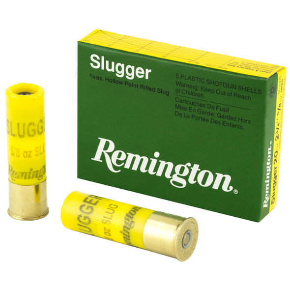 """Remington Slugger 20GA 2.75"""" 5/8 oz Rifled Slug Ammunition 5 Rounds"""
