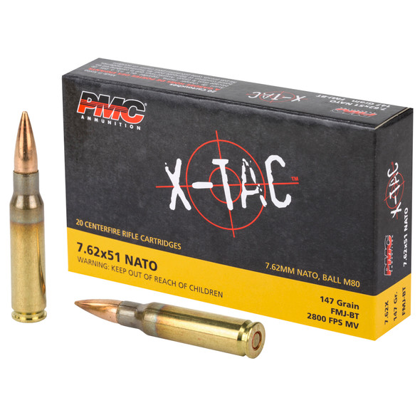 PMC X-Tac 7.62mm 147GR FMJBT Ammunition 20 Rounds