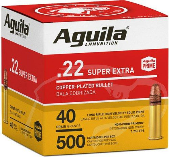 Aguila Super Extra High Velocity 22 LR 40GR Copper-Plated Solid Point Ammunition 500 Rounds