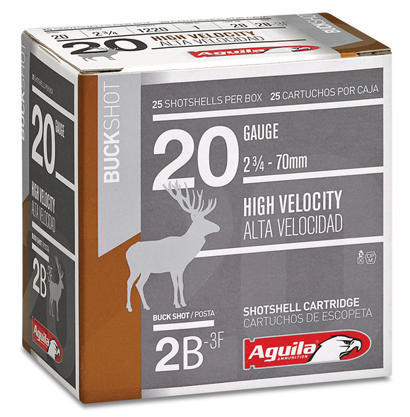 "Aguila High Velocity 20GA 2.75"" 1 oz 2 Buckshot Ammunition 25 Rounds"