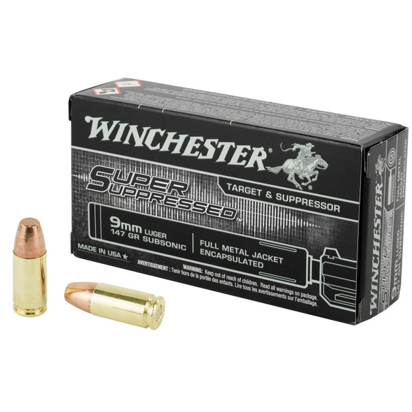 Winchester Super Suppressed 9mm 147GR Encapsulated FMJ Ammunition 50 Rounds