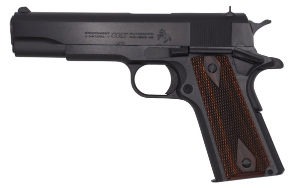 "Colt 1911 Government 45 ACP 5"" 7+1 Blued Blued Steel Slide Double Diamond Checkered Rosewood Grip"